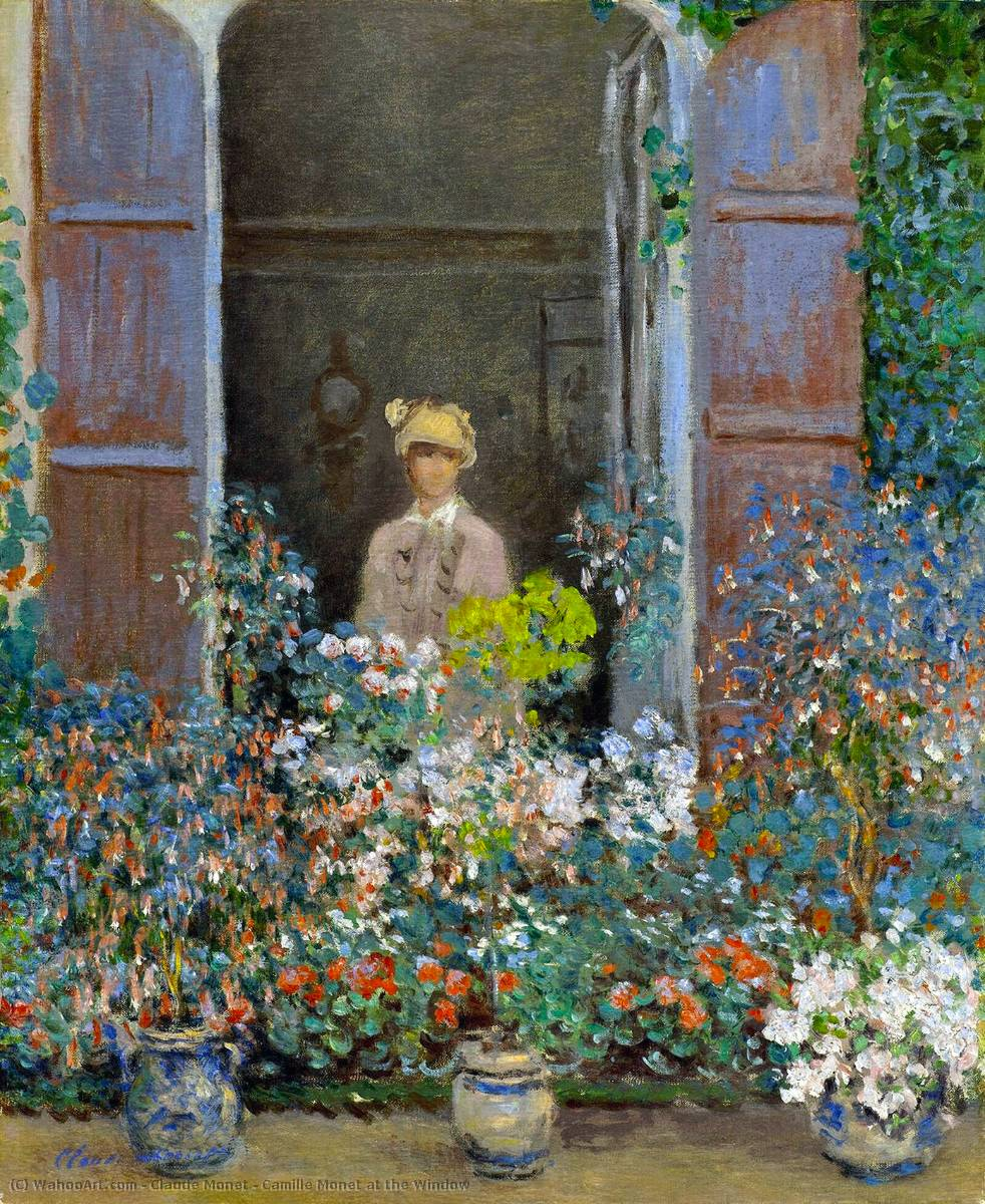 famous painting Camille Monet am Fenster of Claude Monet
