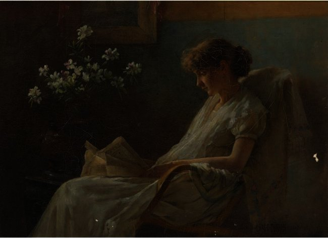 famous painting Ein komfortables Corner of Charles Courtney Curran