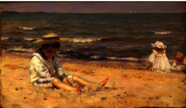 famous painting direkt am strand , lake erie of Charles Courtney Curran