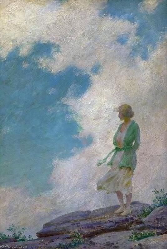 famous painting die grüne jacke  of Charles Courtney Curran