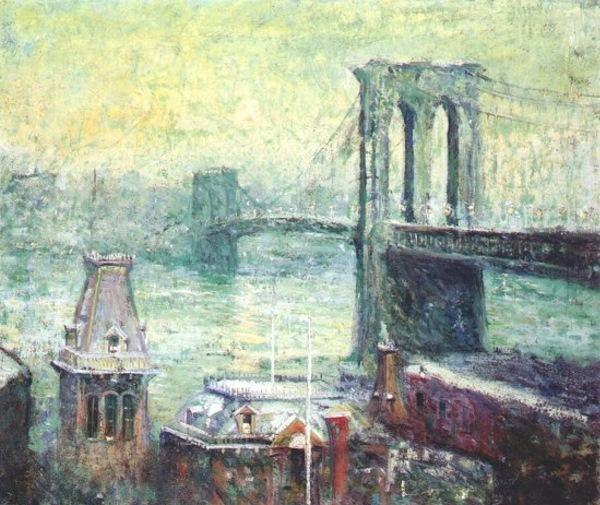 famous painting Brooklyn Brücke of Ernest Lawson