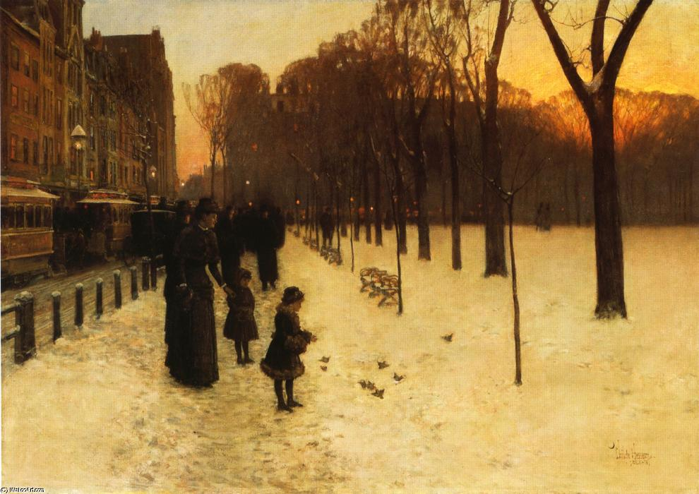 famous painting Boston Common in der Dämmerung of Frederick Childe Hassam