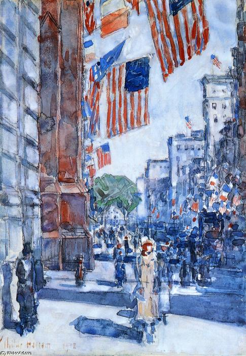 famous painting Flaggen, Fifth Avenue of Frederick Childe Hassam