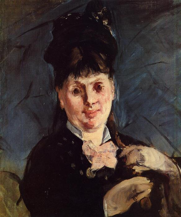 famous painting Frau mit Regenschirm of Edouard Manet