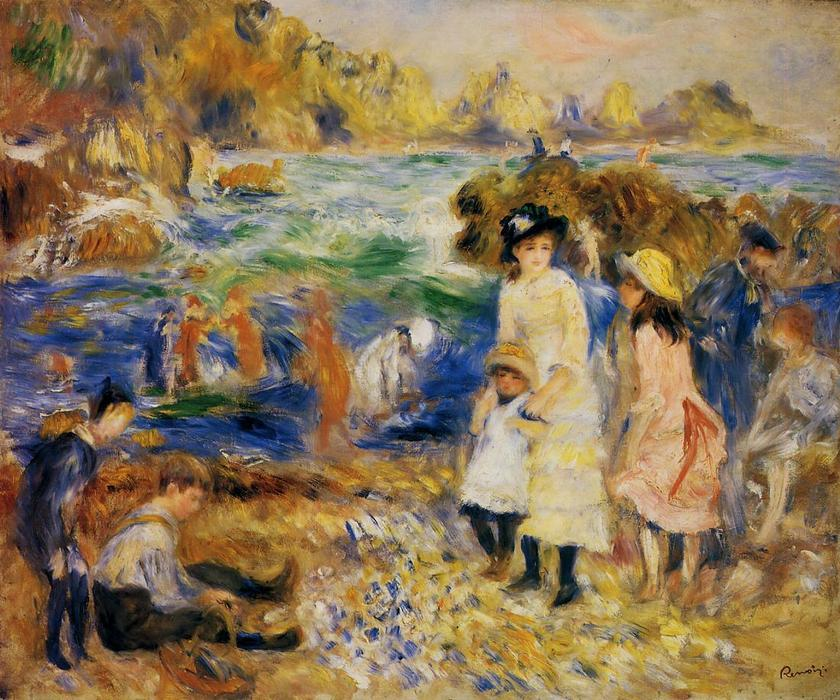 famous painting kinder durch den meer in guernsey of Pierre-Auguste Renoir