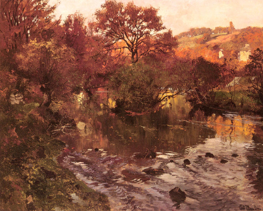 famous painting golden herbst Bretagne  of Frits Thaulow