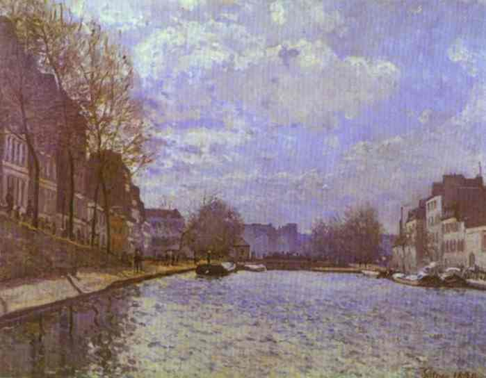 famous painting Der Canal Saint Martin in Paris of Alfred Sisley