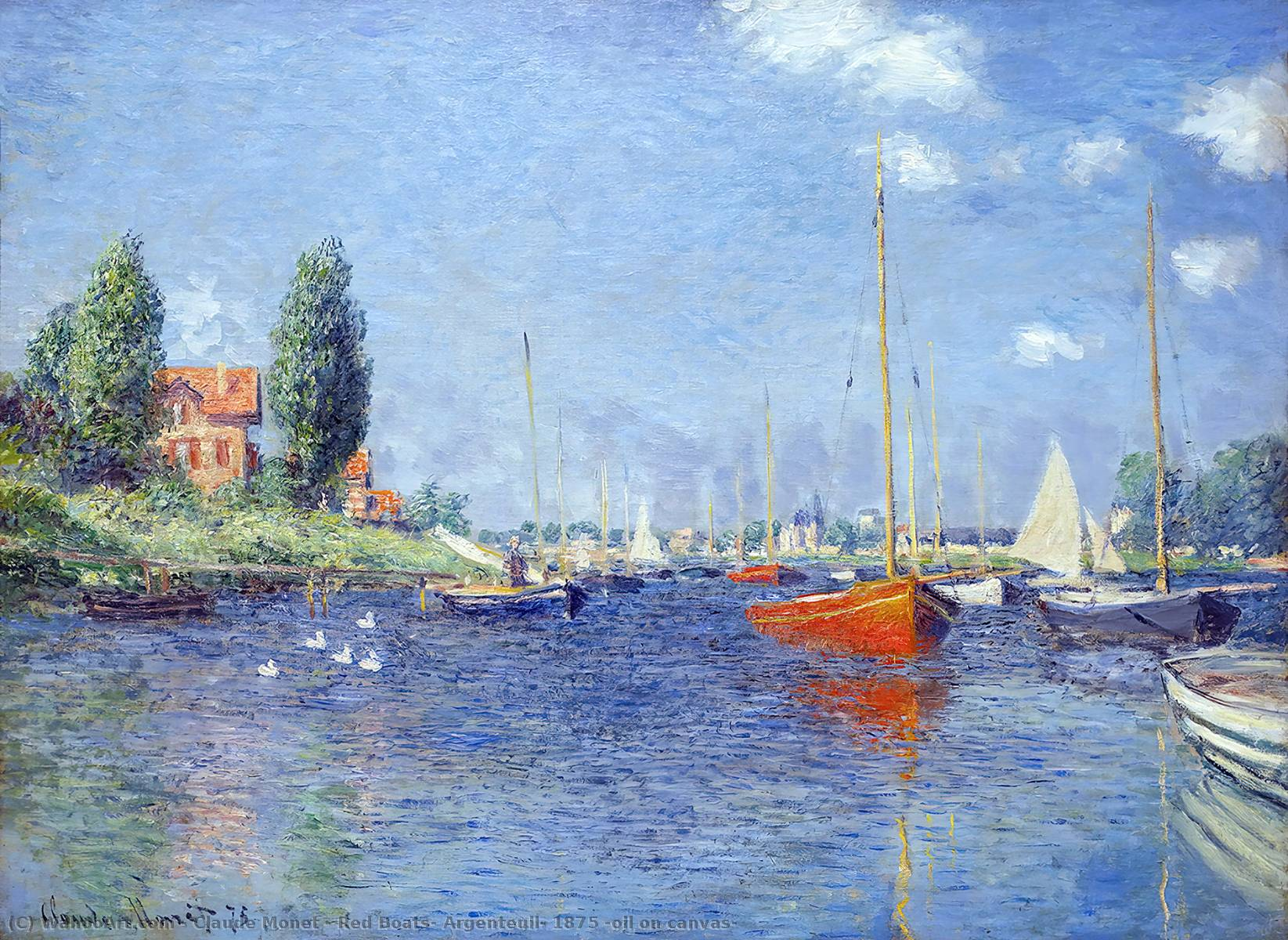 famous painting rote boote , Argenteuil , 1875 ( öl auf leinwand ) of Claude Monet
