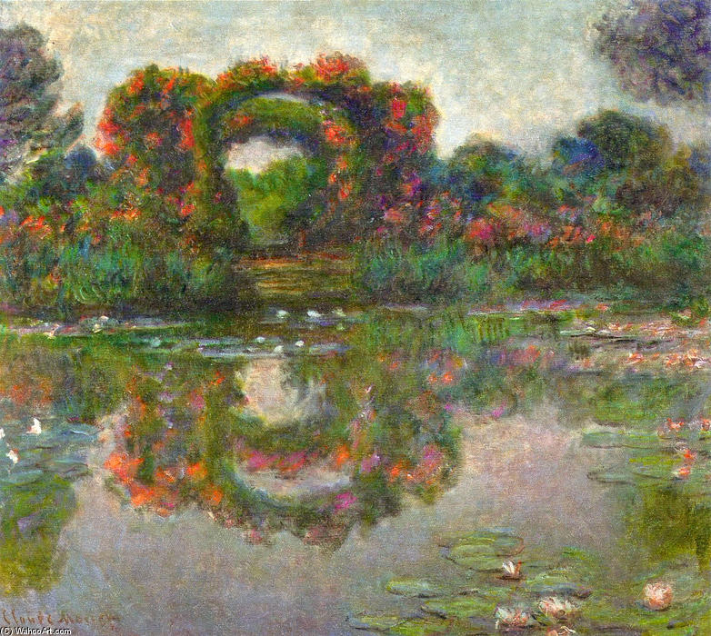 famous painting Rose Flowered Arches in Giverny of Claude Monet