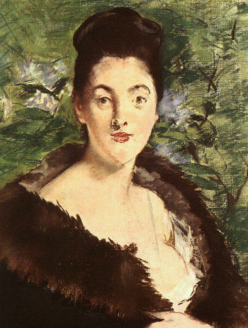 famous painting Lady in einem Fell- of Edouard Manet