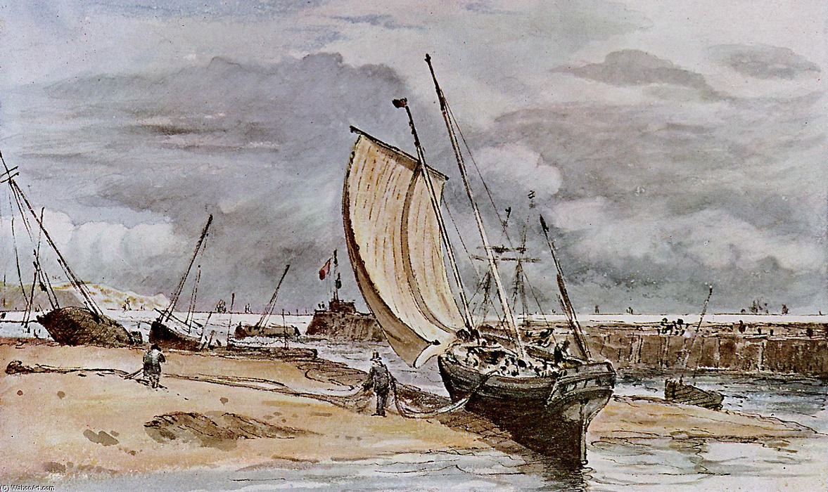 famous painting Fokstone Hafen of John Constable
