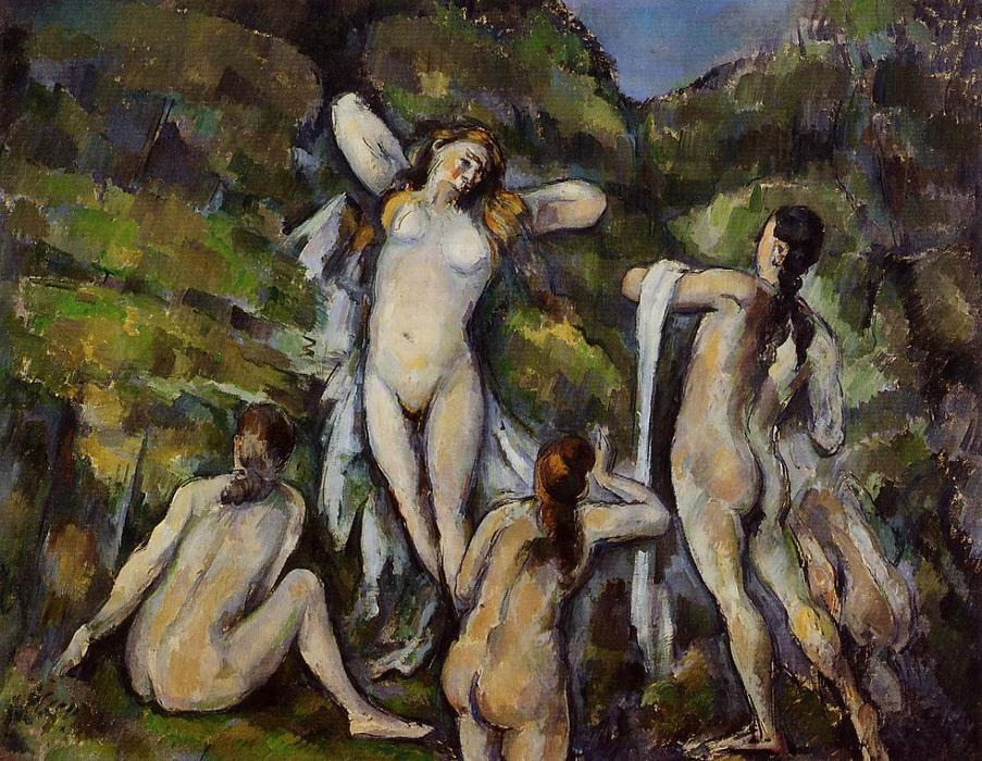 famous painting vier badende of Paul Cezanne